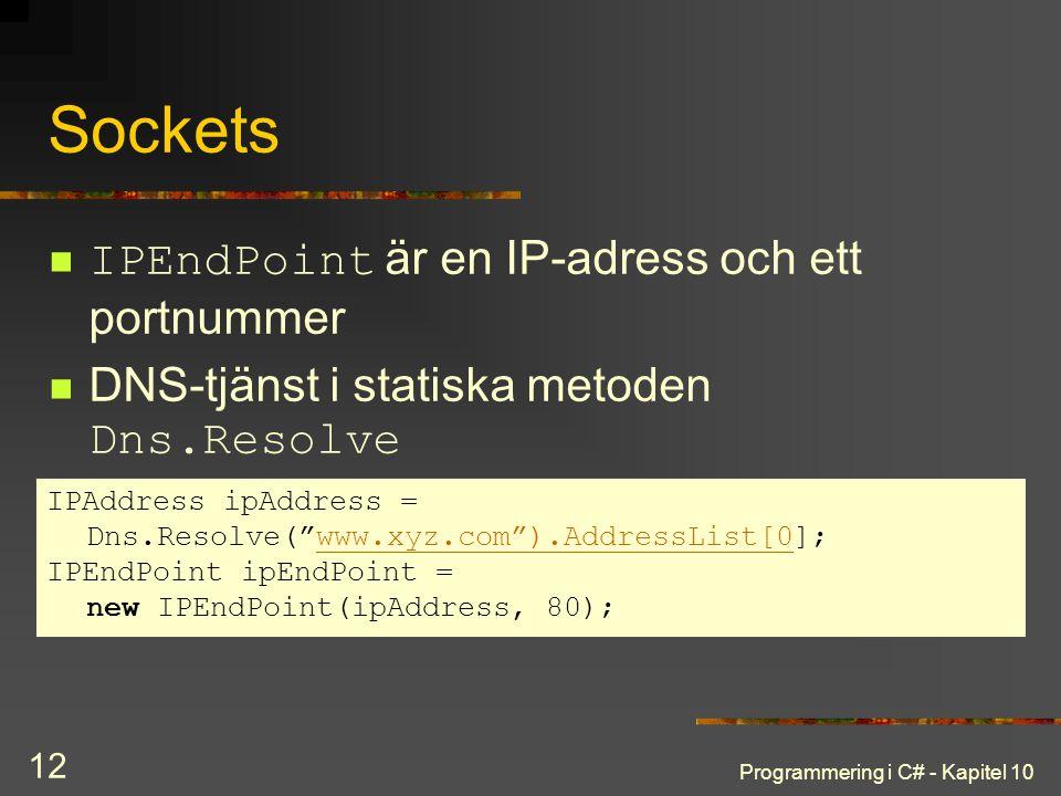 Programmering i C# - Kapitel 10 12 Sockets IPEndPoint är en IP-adress och ett portnummer DNS-tjänst i statiska metoden Dns.Resolve IPAddress ipAddress