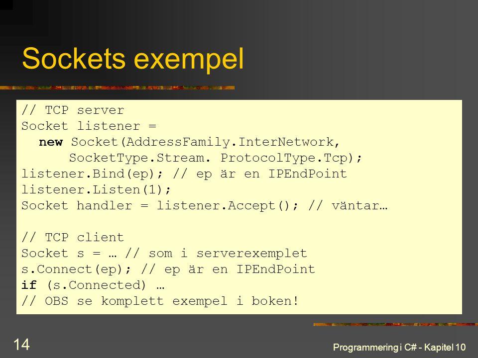 Programmering i C# - Kapitel 10 14 Sockets exempel // TCP server Socket listener = new Socket(AddressFamily.InterNetwork, SocketType.Stream. ProtocolT