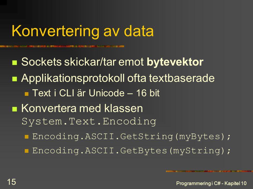 Programmering i C# - Kapitel 10 15 Konvertering av data Sockets skickar/tar emot bytevektor Applikationsprotokoll ofta textbaserade Text i CLI är Unic