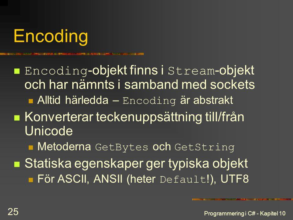 Programmering i C# - Kapitel 10 25 Encoding Encoding -objekt finns i Stream -objekt och har nämnts i samband med sockets Alltid härledda – Encoding är