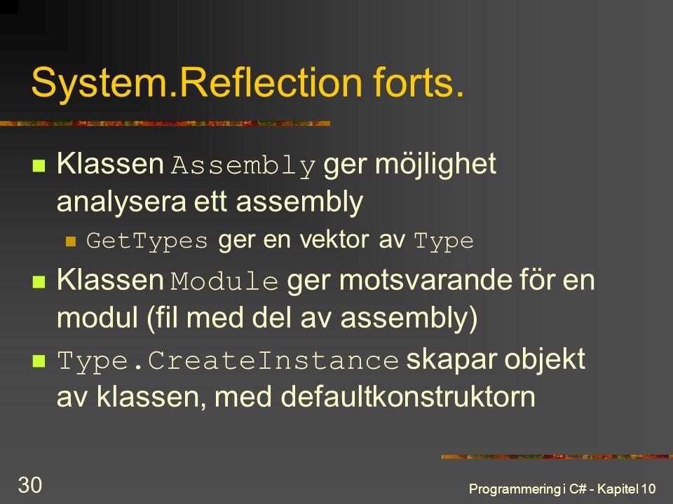 Programmering i C# - Kapitel 10 30 System.Reflection forts. Klassen Assembly ger möjlighet analysera ett assembly GetTypes ger en vektor av Type Klass