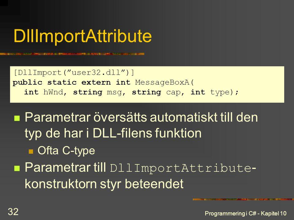 Programmering i C# - Kapitel 10 32 DllImportAttribute Parametrar översätts automatiskt till den typ de har i DLL-filens funktion Ofta C-type Parametra