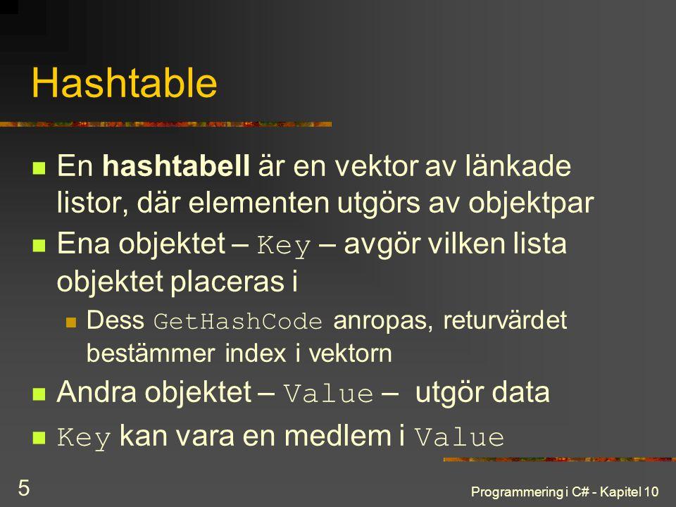 Programmering i C# - Kapitel 10 5 Hashtable En hashtabell är en vektor av länkade listor, där elementen utgörs av objektpar Ena objektet – Key – avgör