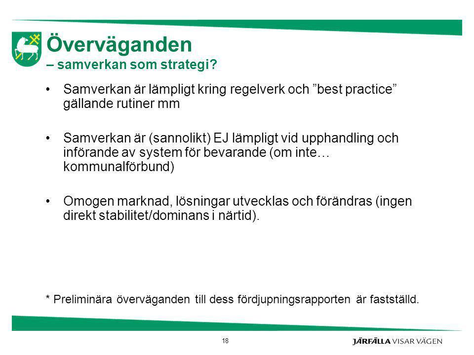 """Överväganden – samverkan som strategi? Samverkan är lämpligt kring regelverk och """"best practice"""" gällande rutiner mm Samverkan är (sannolikt) EJ lämpl"""