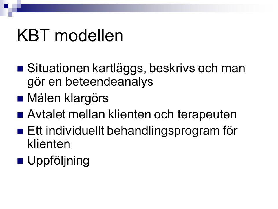 KBT modellen Situationen kartläggs, beskrivs och man gör en beteendeanalys Målen klargörs Avtalet mellan klienten och terapeuten Ett individuellt beha