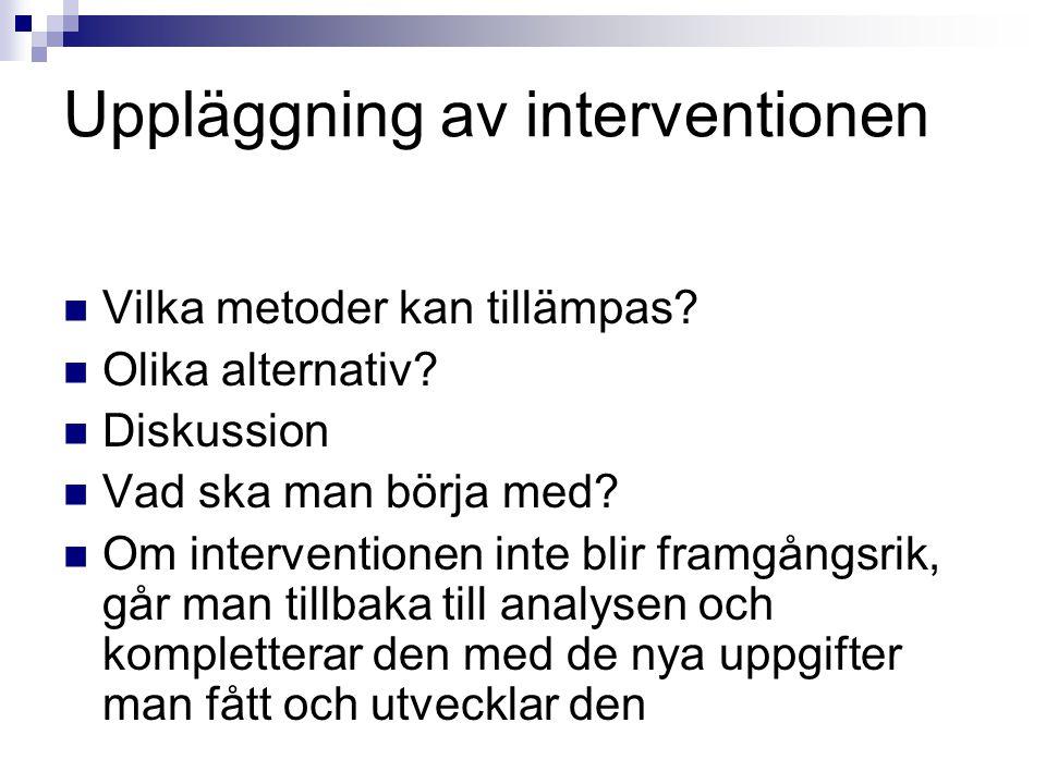 Uppläggning av interventionen Vilka metoder kan tillämpas? Olika alternativ? Diskussion Vad ska man börja med? Om interventionen inte blir framgångsri