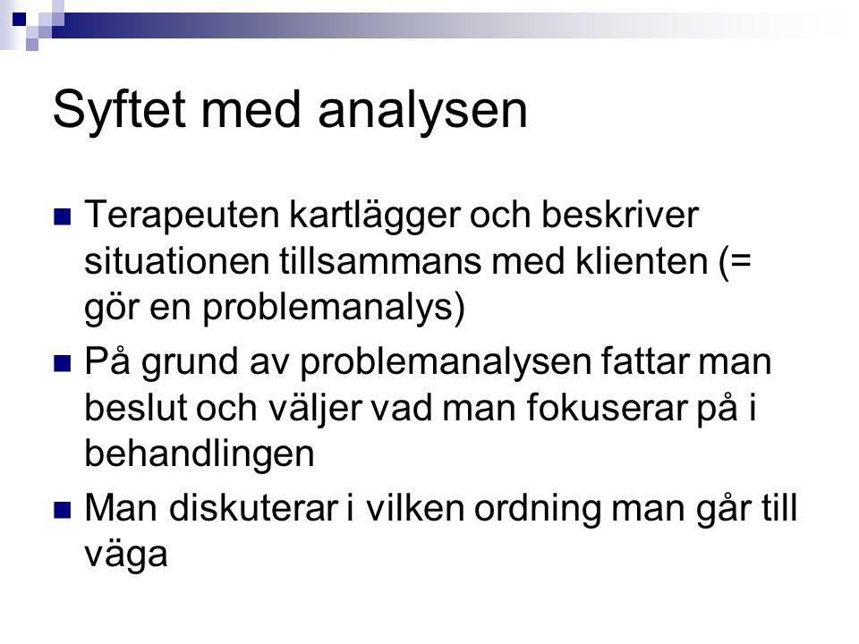 Syftet med analysen Terapeuten kartlägger och beskriver situationen tillsammans med klienten (= gör en problemanalys) På grund av problemanalysen fatt
