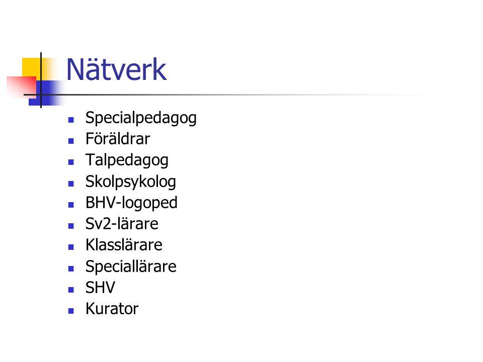 Nätverk Specialpedagog Föräldrar Talpedagog Skolpsykolog BHV-logoped Sv2-lärare Klasslärare Speciallärare SHV Kurator