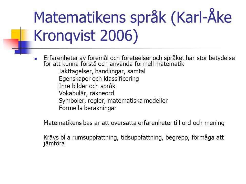 Matematikens språk (Karl-Åke Kronqvist 2006) Erfarenheter av föremål och företeelser och språket har stor betydelse för att kunna förstå och använda f