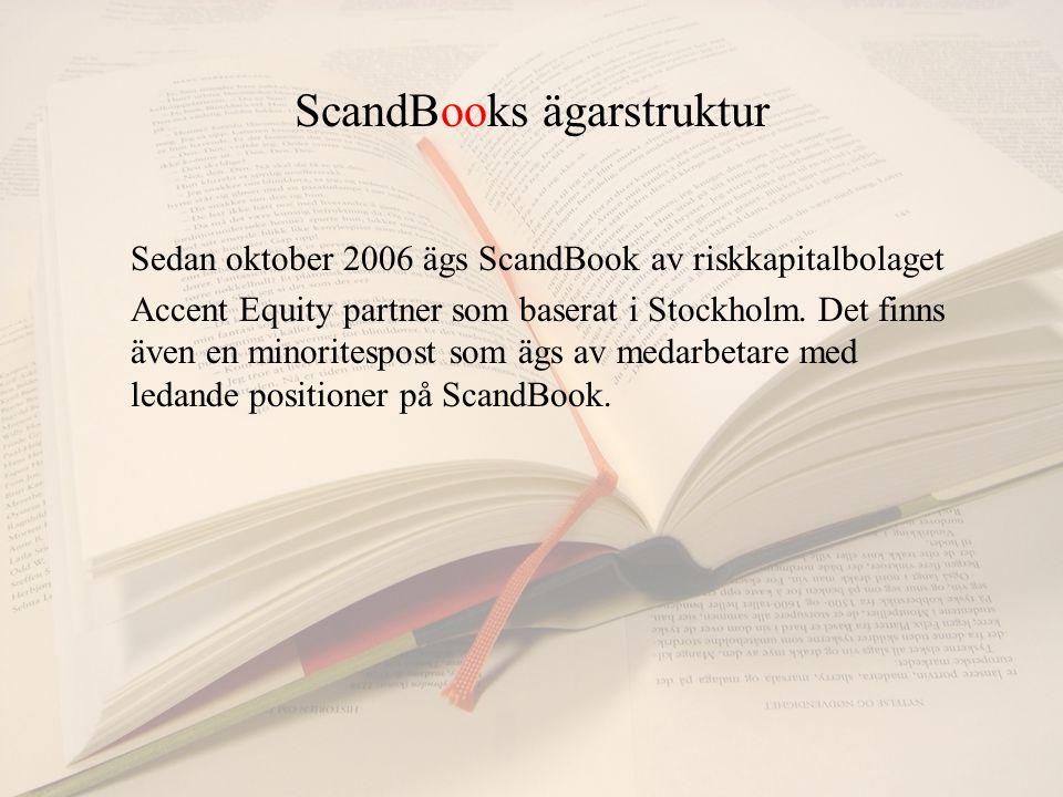 ScandBooks ägarstruktur Sedan oktober 2006 ägs ScandBook av riskkapitalbolaget Accent Equity partner som baserat i Stockholm.