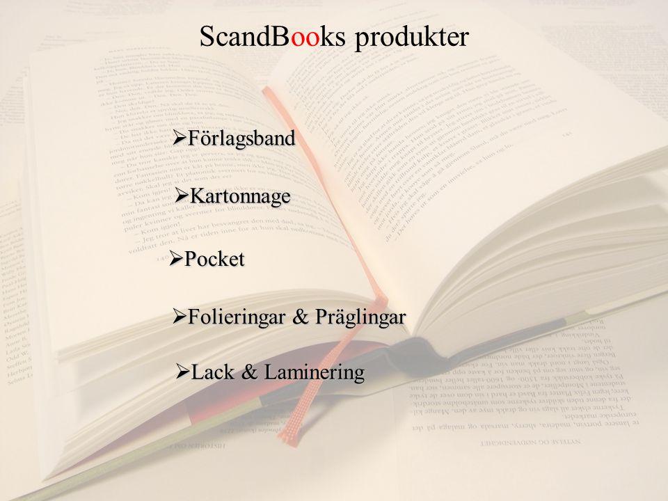 ScandBooks produkter  Förlagsband  Kartonnage  Pocket  Folieringar & Präglingar  Lack & Laminering