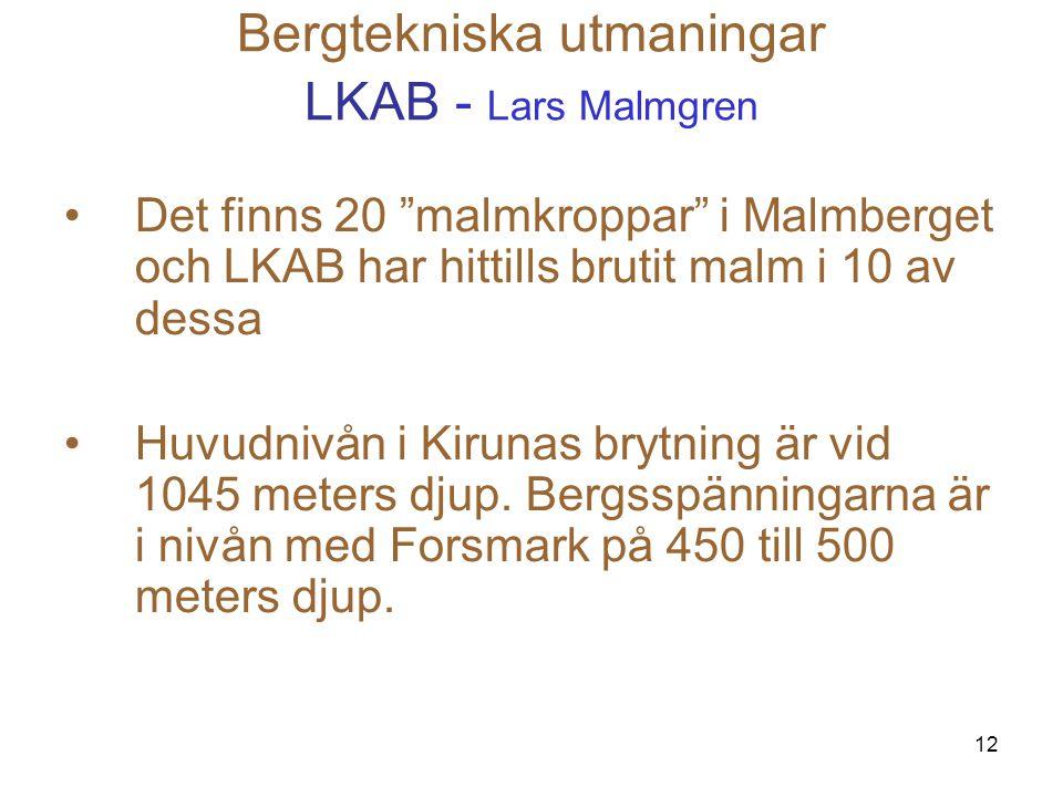 """12 Bergtekniska utmaningar LKAB - Lars Malmgren Det finns 20 """"malmkroppar"""" i Malmberget och LKAB har hittills brutit malm i 10 av dessa Huvudnivån i K"""