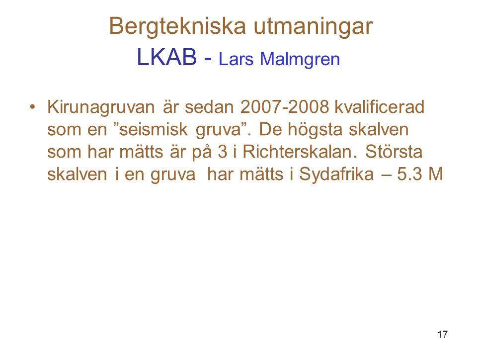 """17 Bergtekniska utmaningar LKAB - Lars Malmgren Kirunagruvan är sedan 2007-2008 kvalificerad som en """"seismisk gruva"""". De högsta skalven som har mätts"""