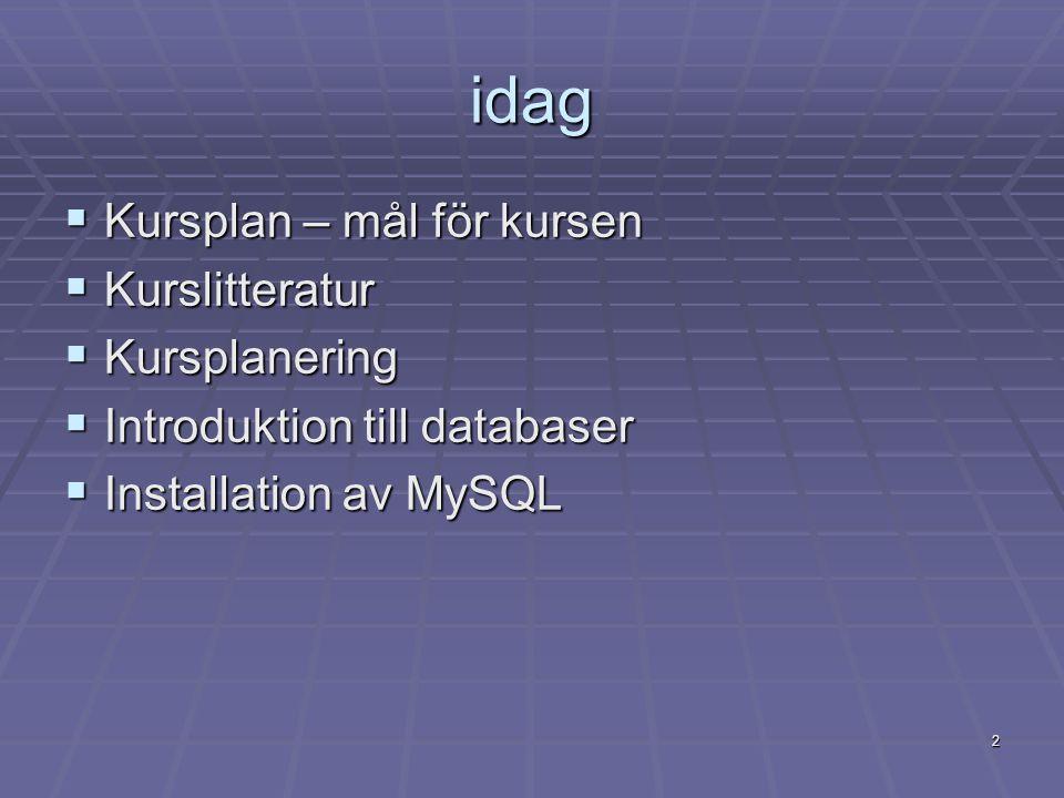 2 idag  Kursplan – mål för kursen  Kurslitteratur  Kursplanering  Introduktion till databaser  Installation av MySQL