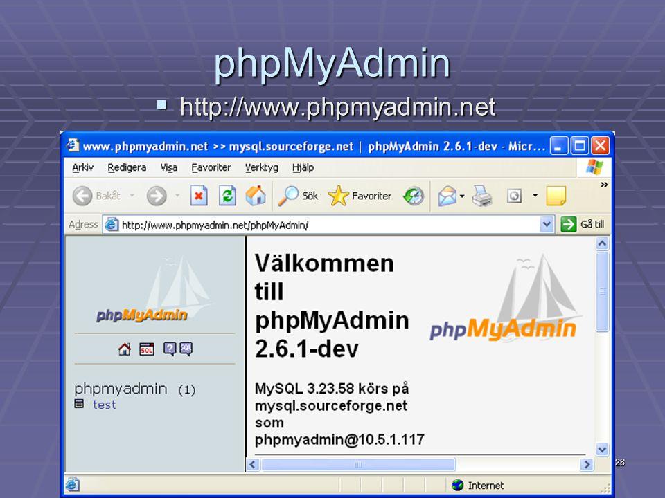 28 phpMyAdmin  http://www.phpmyadmin.net