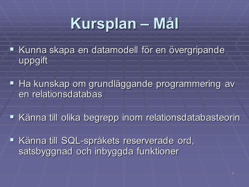 3 Kursplan – Mål  Kunna skapa en datamodell för en övergripande uppgift  Ha kunskap om grundläggande programmering av en relationsdatabas  Känna till olika begrepp inom relationsdatabasteorin  Känna till SQL-språkets reserverade ord, satsbyggnad och inbyggda funktioner
