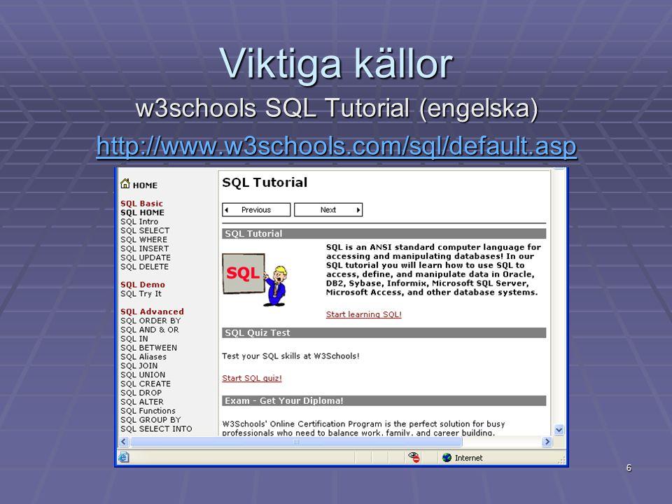 6 Viktiga källor w3schools SQL Tutorial (engelska) http://www.w3schools.com/sql/default.asp