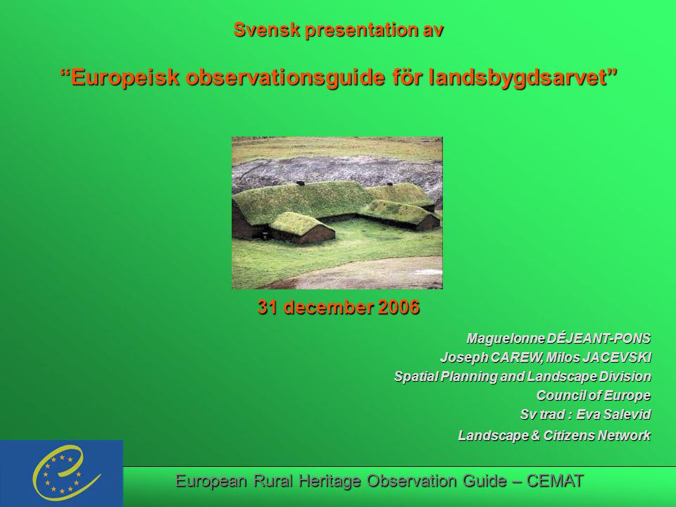 European Rural Heritage Observation Guide – CEMAT Insert graphic of front cover