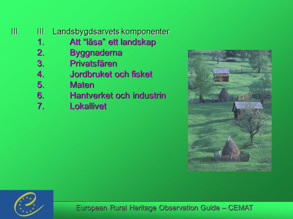 European Rural Heritage Observation Guide – CEMAT III.III.