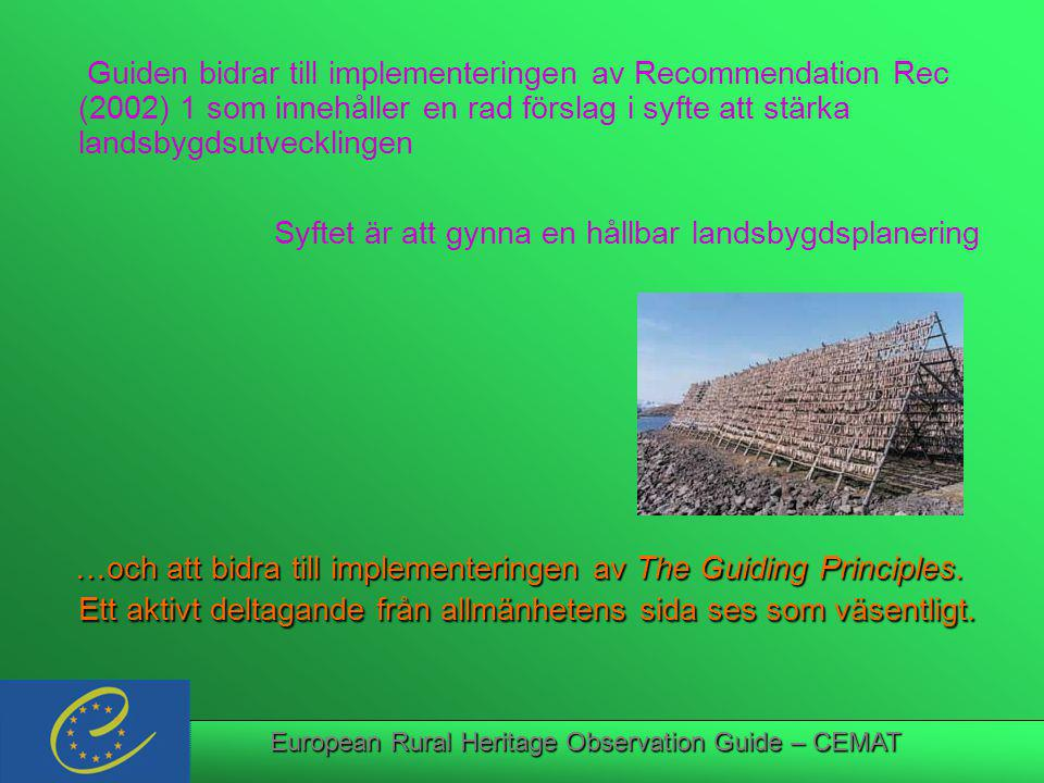 European Rural Heritage Observation Guide – CEMAT