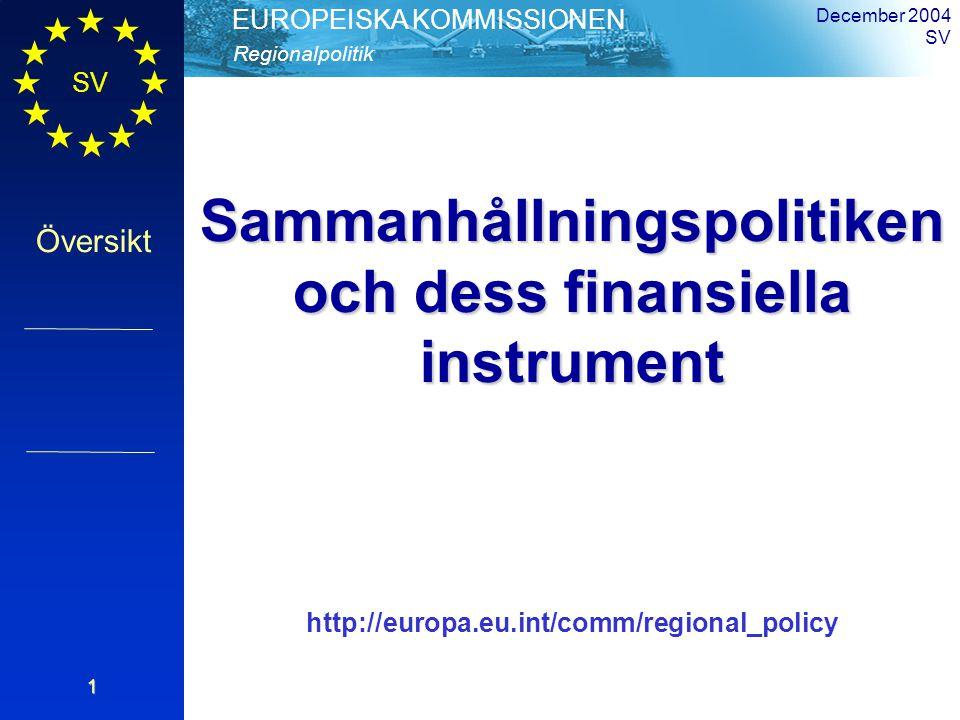 SV Översikt Regionalpolitik EUROPEISKA KOMMISSIONEN December 2004 SV1 Sammanhållningspolitiken och dess finansiella instrument http://europa.eu.int/comm/regional_policy