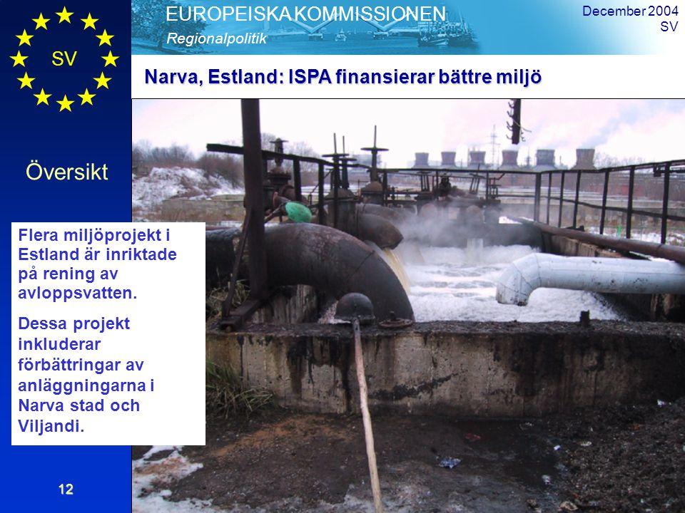 Översikt Regionalpolitik EUROPEISKA KOMMISSIONEN December 2004 SV12 Flera miljöprojekt i Estland är inriktade på rening av avloppsvatten.