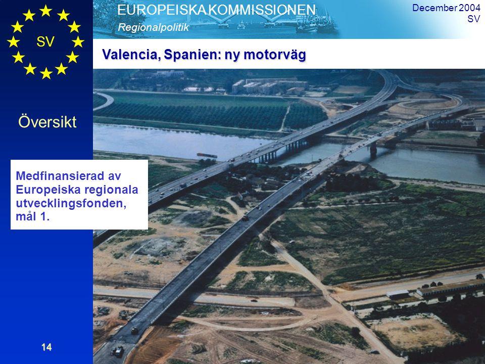 SV Översikt Regionalpolitik EUROPEISKA KOMMISSIONEN December 2004 SV14 Valencia, Spanien: ny motorväg Medfinansierad av Europeiska regionala utvecklingsfonden, mål 1.