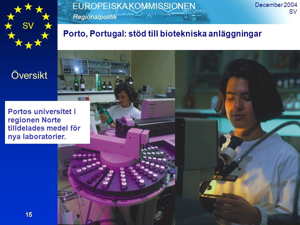 SV Översikt Regionalpolitik EUROPEISKA KOMMISSIONEN December 2004 SV15 Porto, Portugal: stöd till biotekniska anläggningar Portos universitet i regionen Norte tilldelades medel för nya laboratorier.