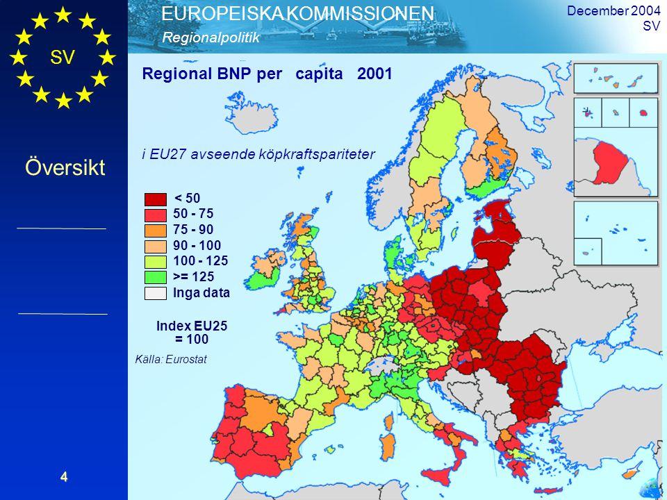 SV Översikt Regionalpolitik EUROPEISKA KOMMISSIONEN December 2004 SV4 < 50 50 - 75 75 - 90 90 - 100 100 - 125 >= 125 Inga data Index EU25 = 100 Källa: Eurostat Regional BNP per capita 2001 i EU27 avseende köpkraftspariteter