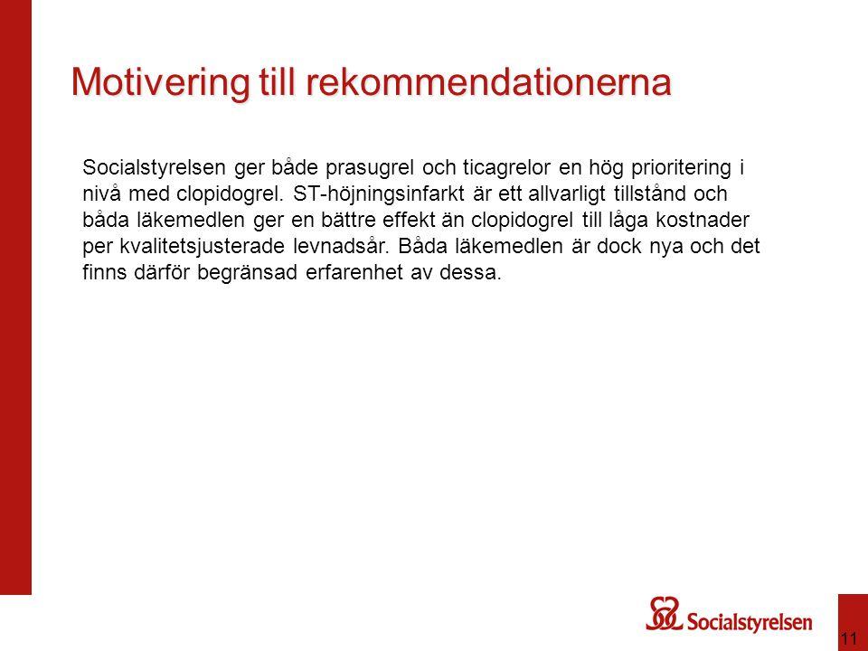 11 Motivering till rekommendationerna Socialstyrelsen ger både prasugrel och ticagrelor en hög prioritering i nivå med clopidogrel. ST-höjningsinfarkt