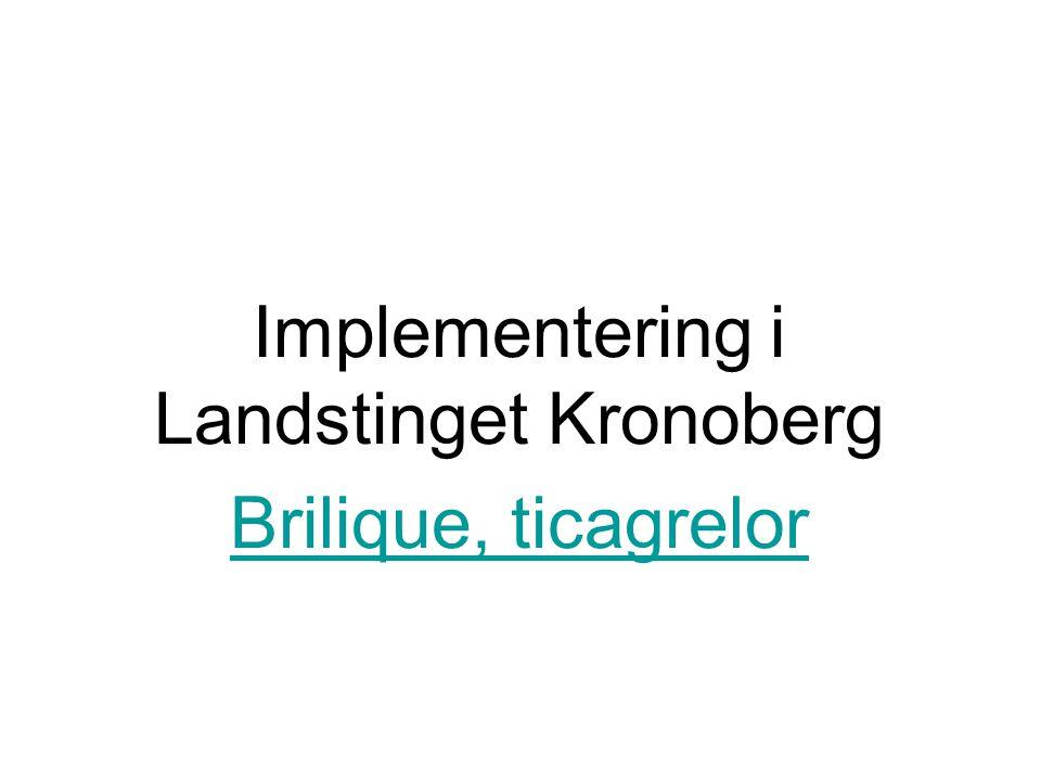 Implementering i Landstinget Kronoberg Brilique, ticagrelor
