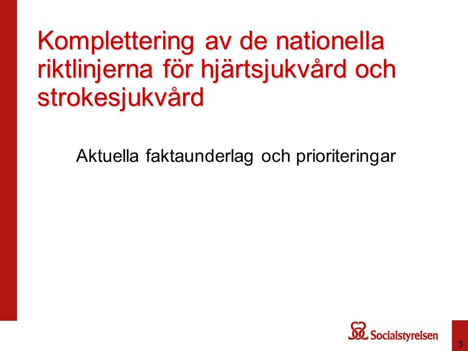 3 Komplettering av de nationella riktlinjerna för hjärtsjukvård och strokesjukvård Aktuella faktaunderlag och prioriteringar