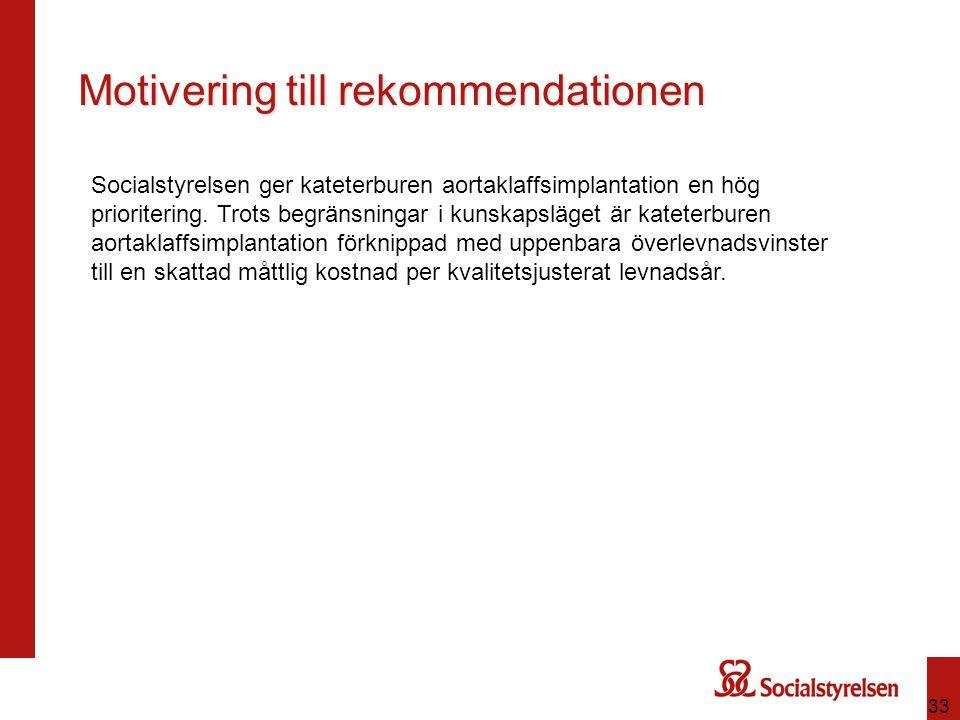 33 Motivering till rekommendationen Socialstyrelsen ger kateterburen aortaklaffsimplantation en hög prioritering. Trots begränsningar i kunskapsläget