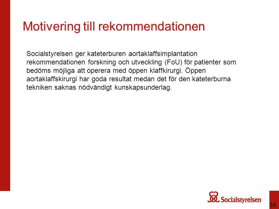 35 Motivering till rekommendationen Socialstyrelsen ger kateterburen aortaklaffsimplantation rekommendationen forskning och utveckling (FoU) för patie