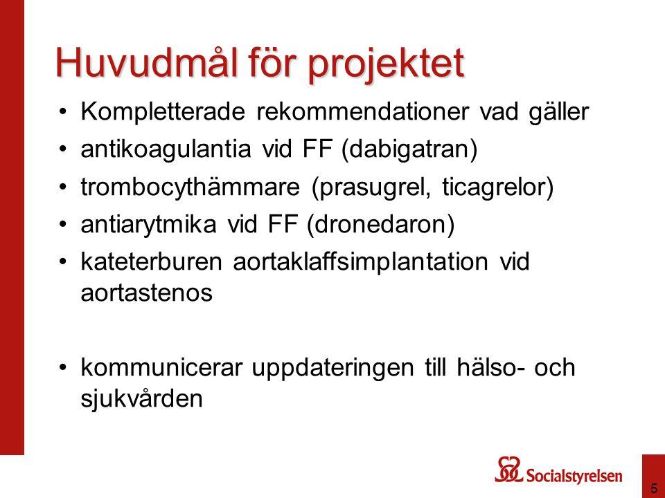 5 Huvudmål för projektet Kompletterade rekommendationer vad gäller antikoagulantia vid FF (dabigatran) trombocythämmare (prasugrel, ticagrelor) antiar