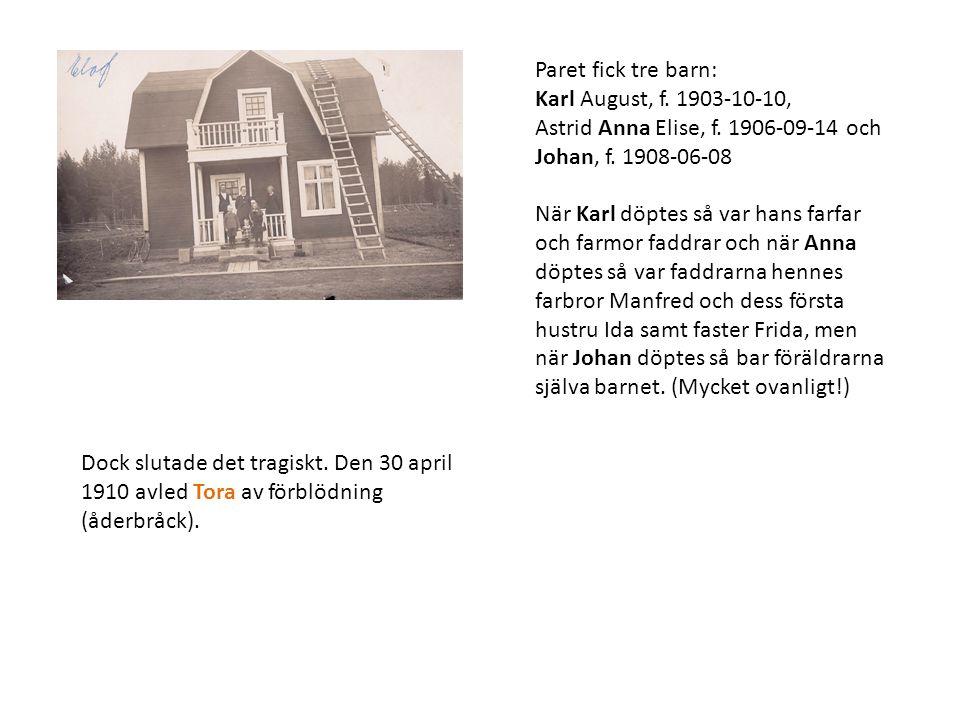 Paret fick tre barn: Karl August, f. 1903-10-10, Astrid Anna Elise, f. 1906-09-14 och Johan, f. 1908-06-08 När Karl döptes så var hans farfar och farm