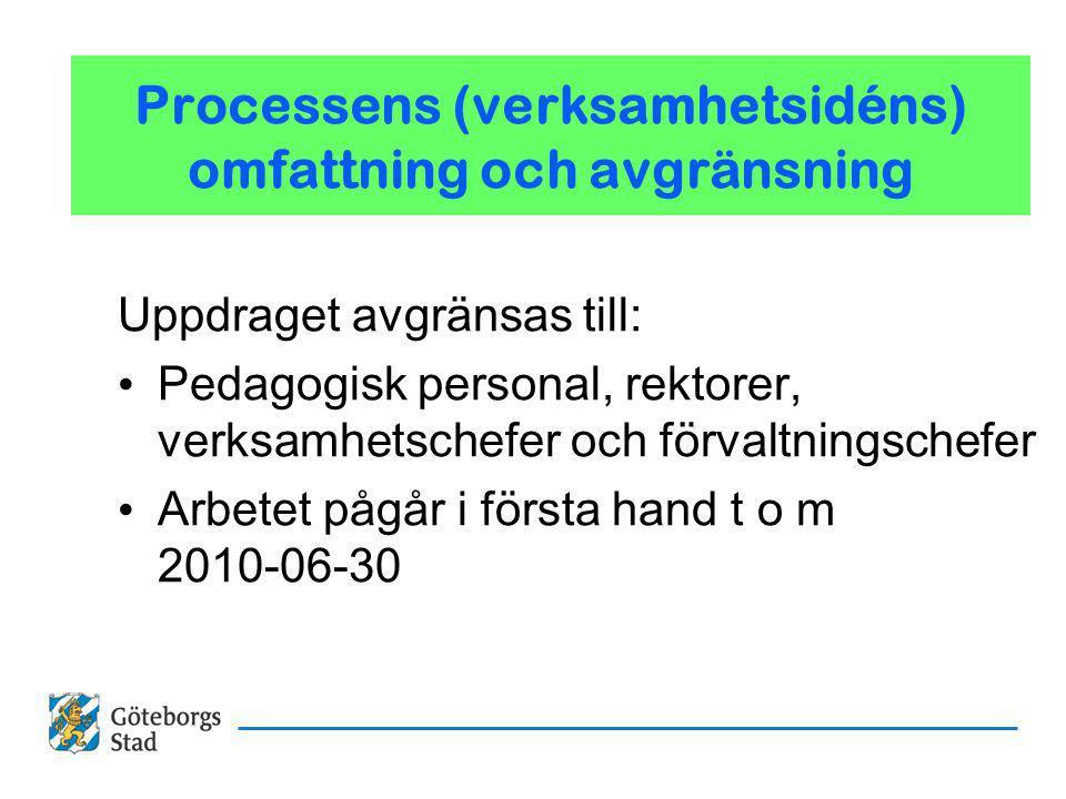 Processens (verksamhetsidéns) omfattning och avgränsning Uppdraget avgränsas till: Pedagogisk personal, rektorer, verksamhetschefer och förvaltningschefer Arbetet pågår i första hand t o m 2010-06-30