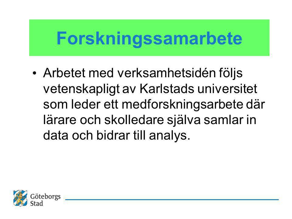 Forskningssamarbete Arbetet med verksamhetsidén följs vetenskapligt av Karlstads universitet som leder ett medforskningsarbete där lärare och skolledare själva samlar in data och bidrar till analys.
