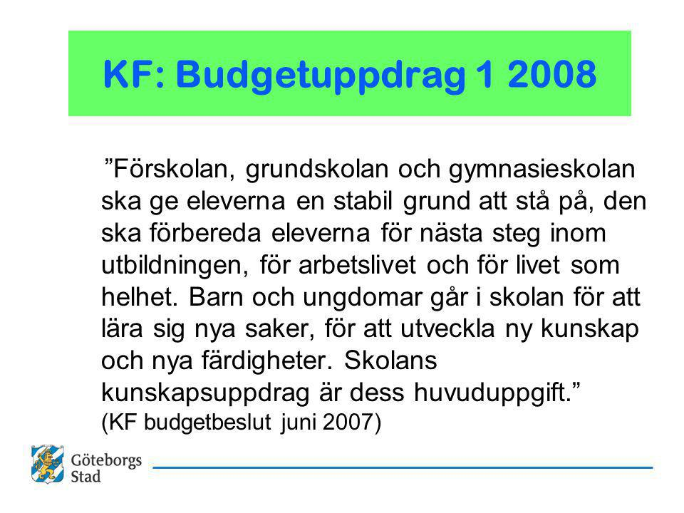 KF: Budgetuppdrag 1 2008 Förskolan, grundskolan och gymnasieskolan ska ge eleverna en stabil grund att stå på, den ska förbereda eleverna för nästa steg inom utbildningen, för arbetslivet och för livet som helhet.