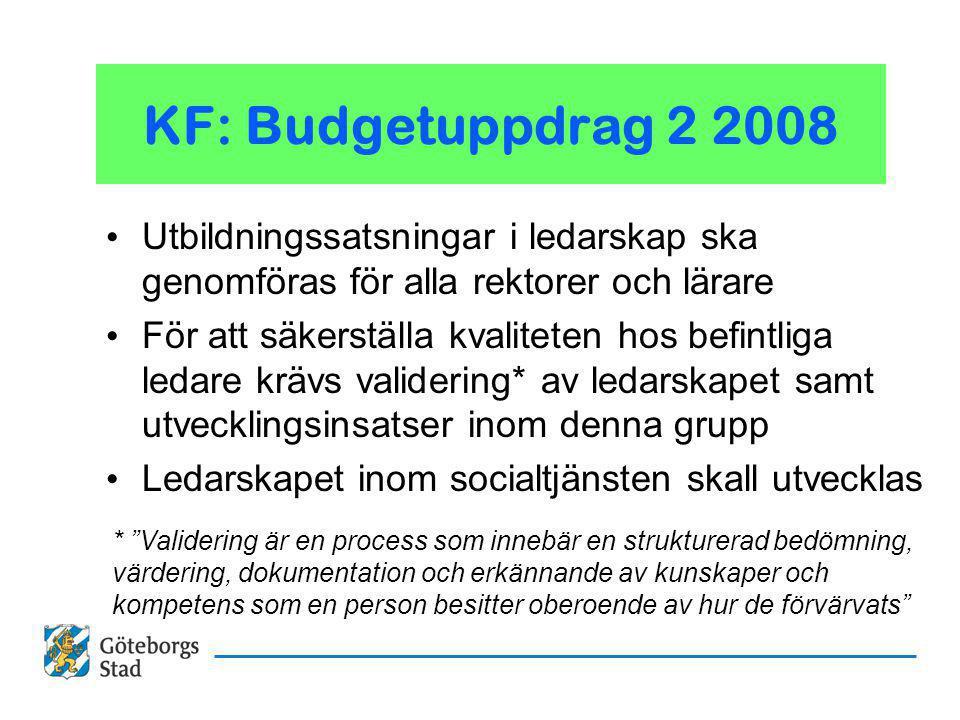 KF: Budgetuppdrag 2 2008 Utbildningssatsningar i ledarskap ska genomföras för alla rektorer och lärare För att säkerställa kvaliteten hos befintliga ledare krävs validering* av ledarskapet samt utvecklingsinsatser inom denna grupp Ledarskapet inom socialtjänsten skall utvecklas * Validering är en process som innebär en strukturerad bedömning, värdering, dokumentation och erkännande av kunskaper och kompetens som en person besitter oberoende av hur de förvärvats