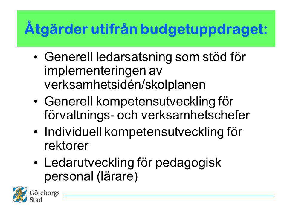 Åtgärder utifrån budgetuppdraget: Generell ledarsatsning som stöd för implementeringen av verksamhetsidén/skolplanen Generell kompetensutveckling för förvaltnings- och verksamhetschefer Individuell kompetensutveckling för rektorer Ledarutveckling för pedagogisk personal (lärare)