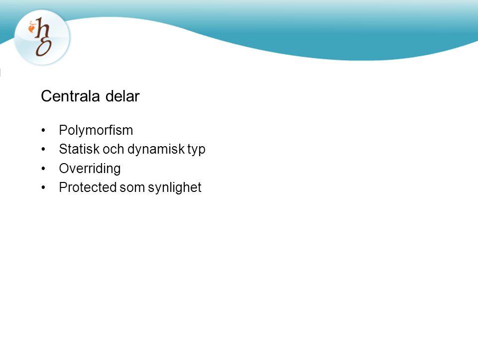 Centrala delar Polymorfism Statisk och dynamisk typ Overriding Protected som synlighet