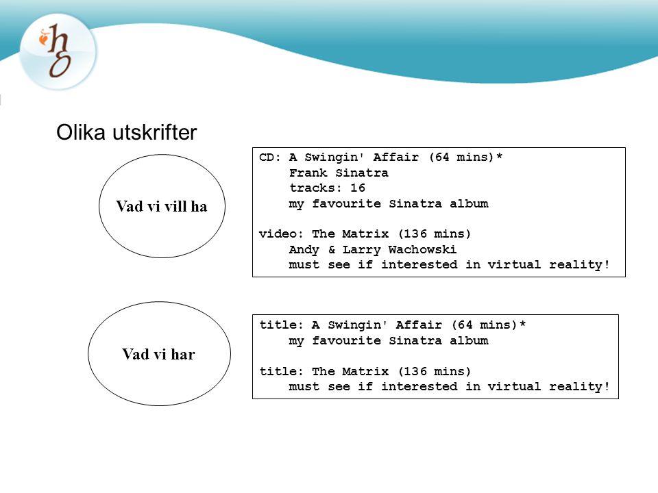 Problem Metoden print hos Item skriver endast ut gemensamma fält Arv går bara åt ett håll: –En underklass ärver överklassens variabler –Överklassen känner inte till underklassens variabler