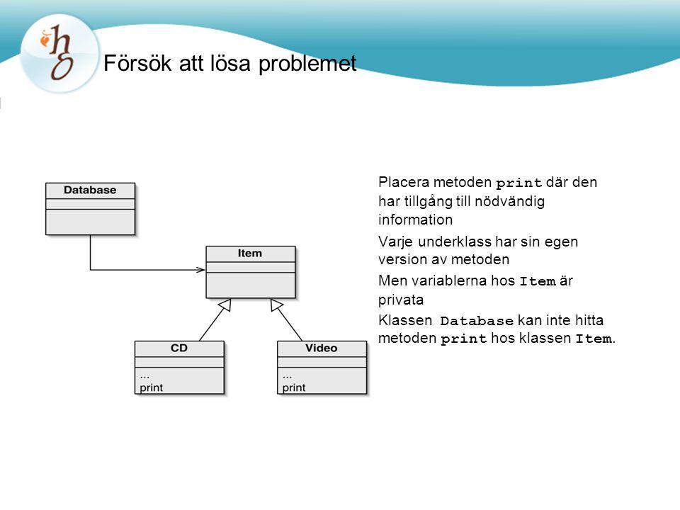 Försök att lösa problemet Placera metoden print där den har tillgång till nödvändig information Varje underklass har sin egen version av metoden Men variablerna hos Item är privata Klassen Database kan inte hitta metoden print hos klassen Item.
