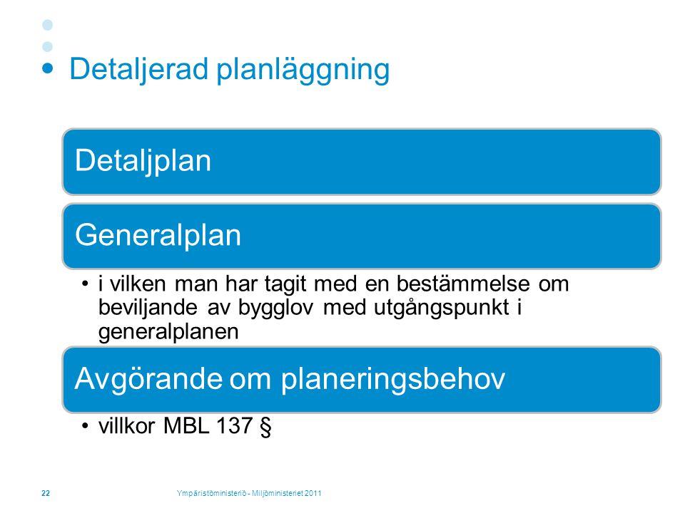 Detaljerad planläggning DetaljplanGeneralplan i vilken man har tagit med en bestämmelse om beviljande av bygglov med utgångspunkt i generalplanen Avgörande om planeringsbehov villkor MBL 137 § 22Ympäristöministeriö - Miljöministeriet 2011