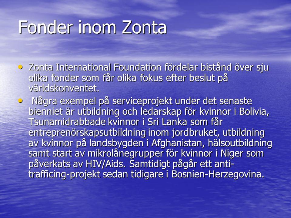 Fonder inom Zonta Zonta International Foundation fördelar bistånd över sju olika fonder som får olika fokus efter beslut på världskonventet.