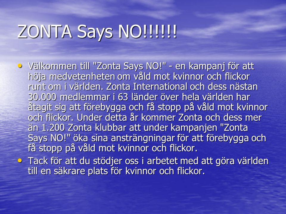 ZONTA Says NO!!!!!! Välkommen till