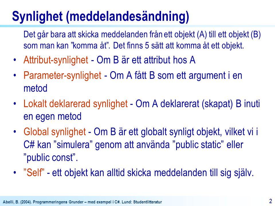 Abelli, B. (2004). Programmeringens Grunder – med exempel i C#. Lund: Studentlitteratur 22 Synlighet (meddelandesändning) Det går bara att skicka medd