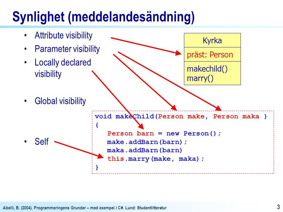 Abelli, B. (2004). Programmeringens Grunder – med exempel i C#. Lund: Studentlitteratur 33 Synlighet (meddelandesändning) Attribute visibility Paramet