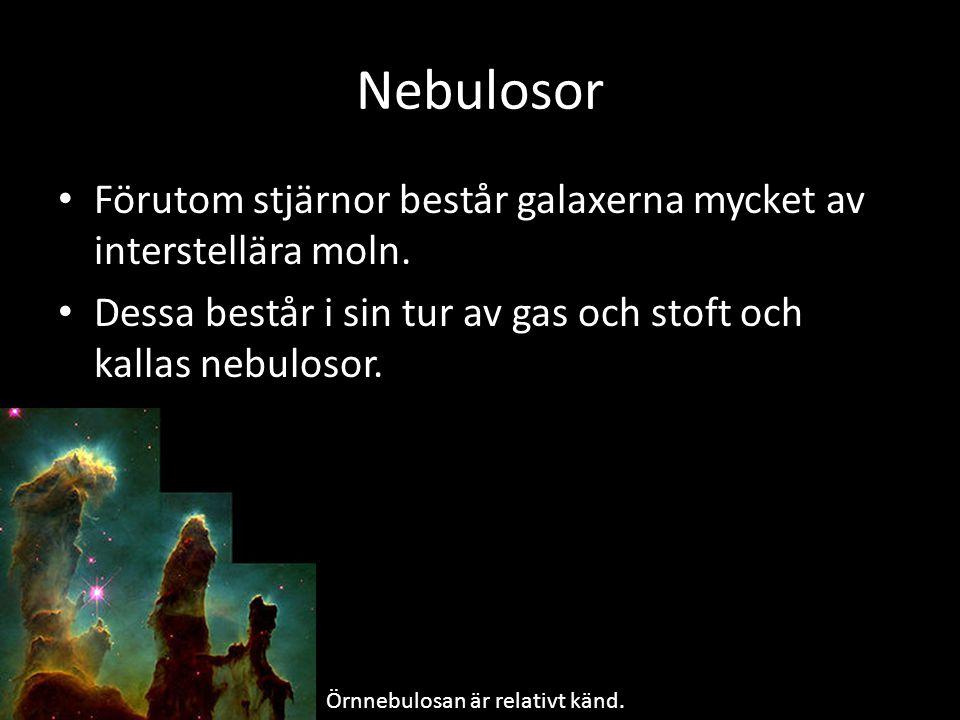Nebulosor Förutom stjärnor består galaxerna mycket av interstellära moln. Dessa består i sin tur av gas och stoft och kallas nebulosor. Örnnebulosan ä